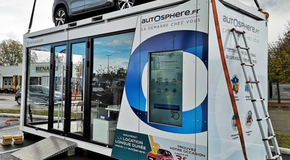 Container pop up store pour le concessionaire en ligne Autosphere